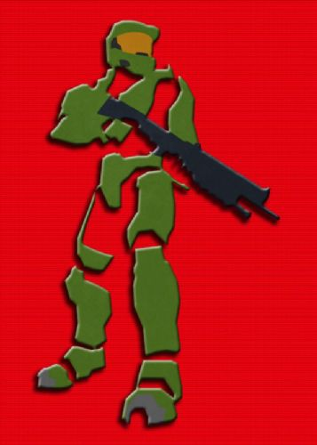 GAMES - HALO - MASTER CHIEF CUT OUT RED canvas print - self adhesive poster - photo print
